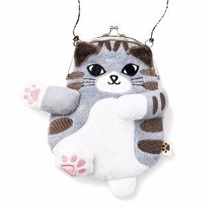 【Felissimo貓部】傲嬌貓咪軟軟肉球口金包-灰黑虎斑